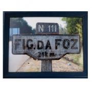 "Fotografie ""Fig da Foz"" in blauem Holzrahmen"