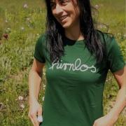 """Girlie-Shirt Robert Kauffmann """"hirnlos"""" Dunkelgrün, Grösse S"""