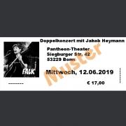 Ticket Doppelkonzert FALK & JAKOB HEYMANN Mi., 12.06.2019 Pantheon, Bonn