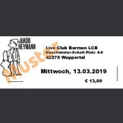 Ticket Konzert JAKOB HEYMANN Mi., 13.03.2019, Live Club Barmen LCB, Wuppertal
